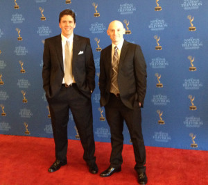 Jeff Belanger and Tony Dunne on the red carpet at the 2014 Emmy Ceremony in Boston.
