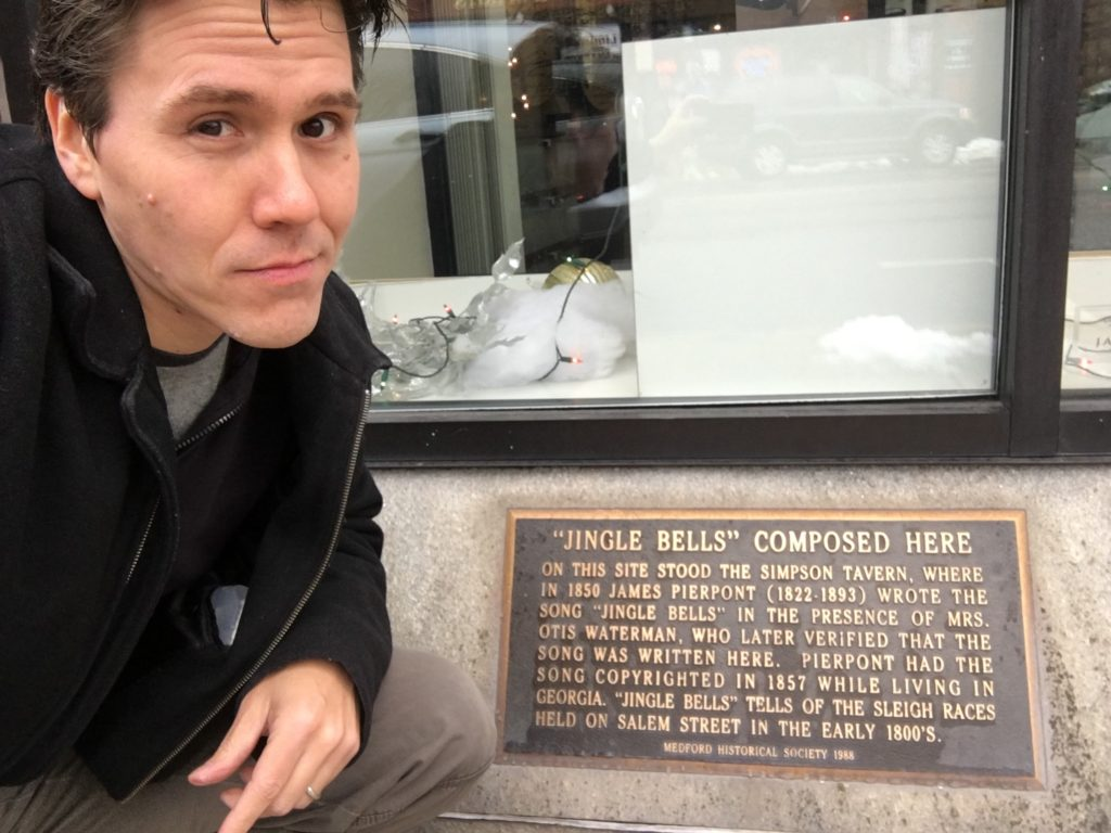 Jeff Belanger with the Jingle Bells plaque in Medford, Massachusetts
