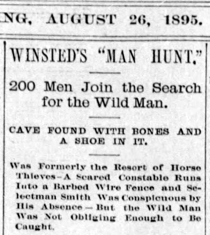 Hartford Courant 1895 Winsted Wild Man Headline