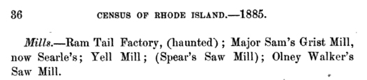 1885 Rhode Island Census - Ram-Tail Factory