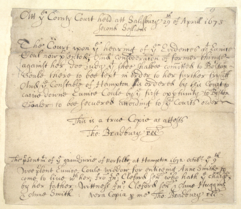 1673 Court Records for Eunice Cole
