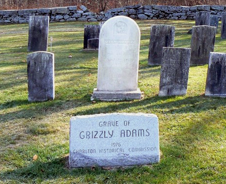 The grave of John Capen Grizzly Adams in Bay Path Cemetery in Charlton, Massachusetts