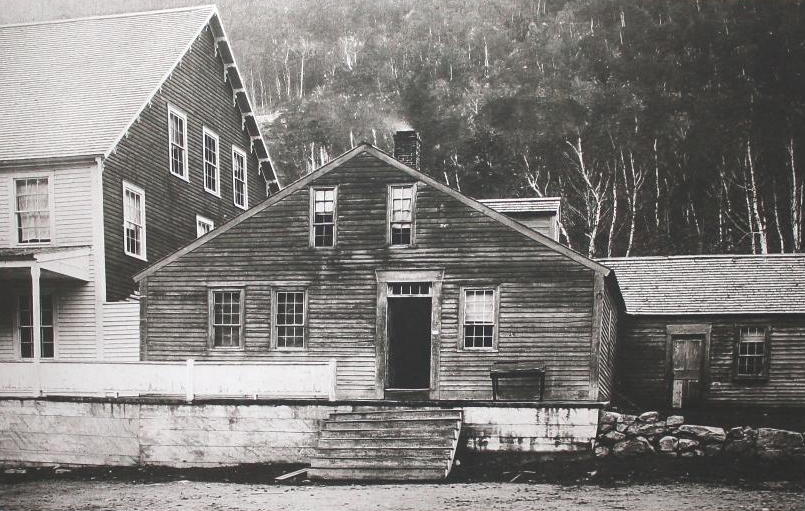 Historic photo of the Willey House in Crawford Notch, New Hampshire.