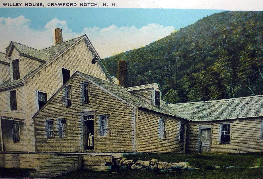 Historic postcard of the Willey House in Crawford Notch, New Hampshire.