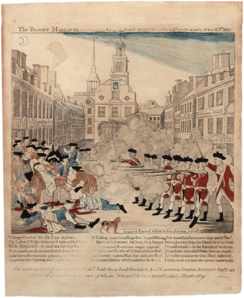Paul Revere's Boston Massacre Engraving 1770