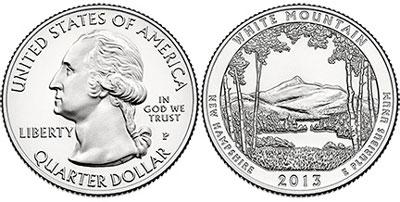2013 Mt. Chocorua Quarter by the U.S. Mint.
