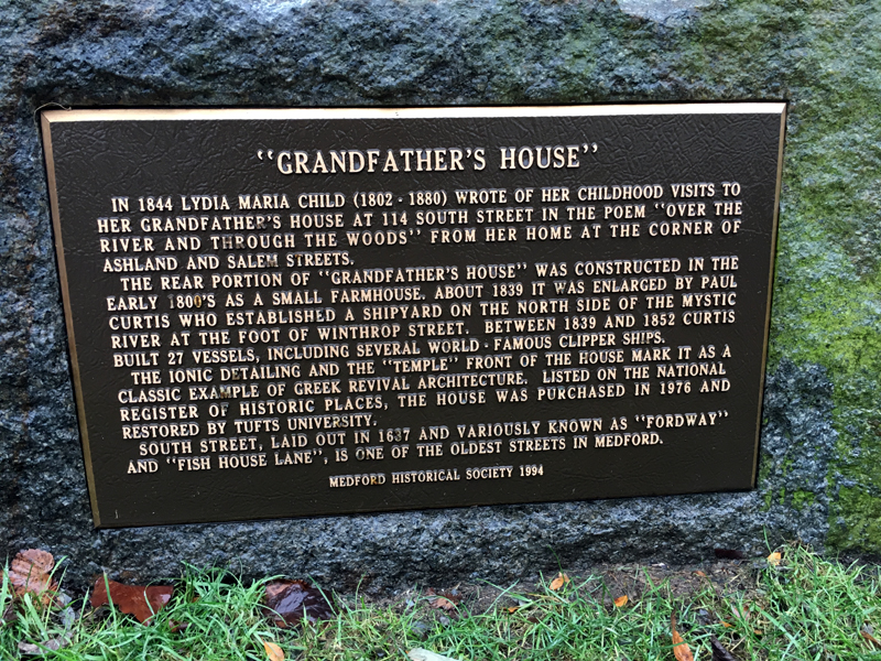 The plaque in front of Grandfather's House (aka Grandmother's House) in Medford, Massachusetts. Photo by Jeff Belanger