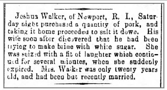 December 16, 1878 news clip on Rosa Walker laughing herself to death.