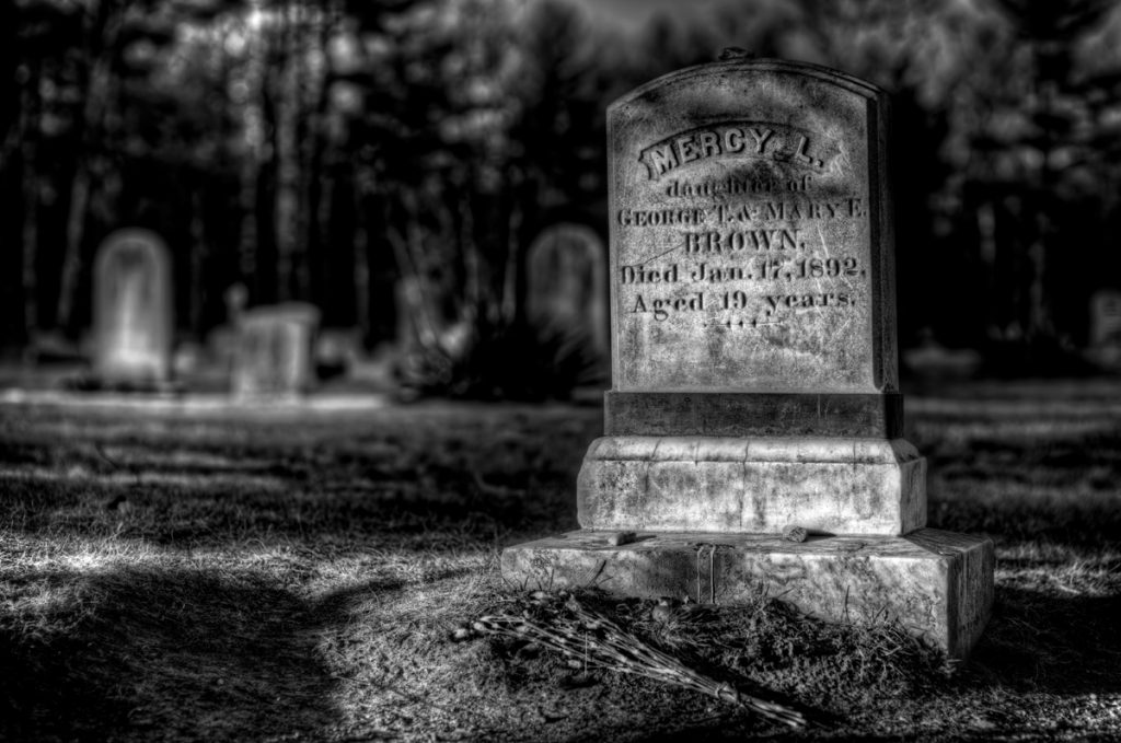 Mercy Brown's Grave in Exeter, Rhode Island. Photo by Frank Grace.