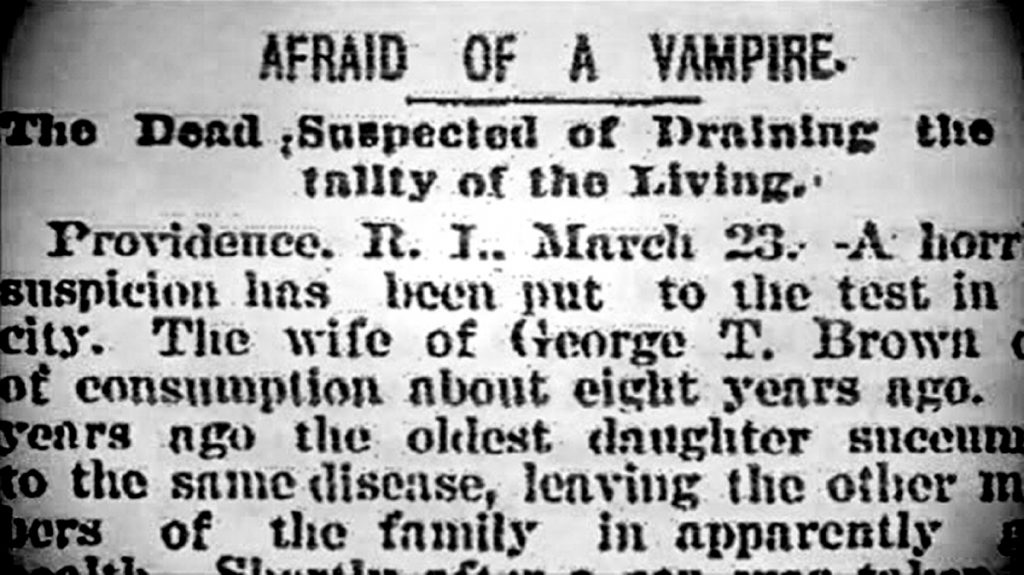 Afraid of a Vampire - newspaper clip from 1892.
