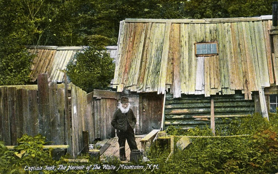 A postcard of English Jack in front of his Ship in Crawford Notch, New Hampshire.