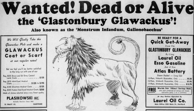 A 1939 advertisement cashing in on Glawackus Fever.