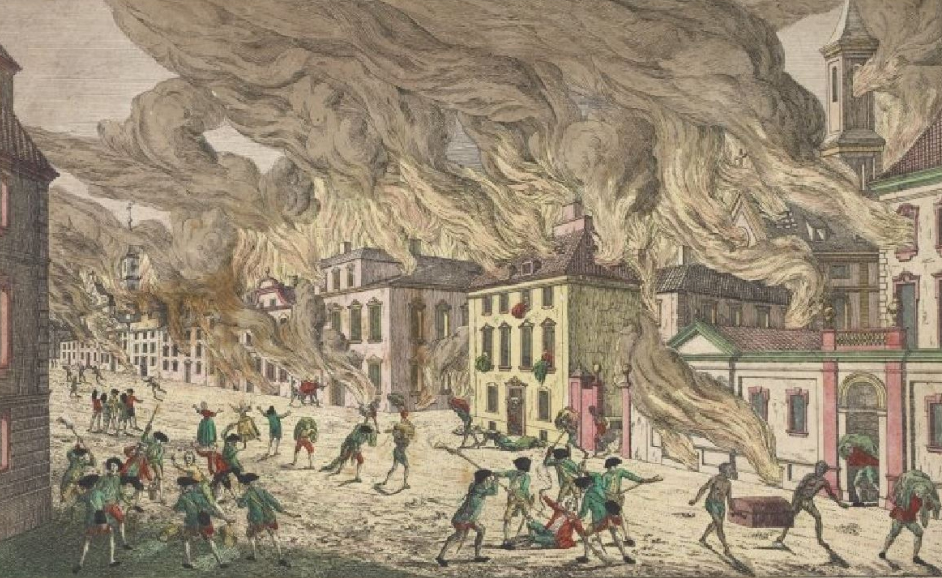 The Burning of Falmouth, Maine, by Lt. Mowat and his British Squadron.