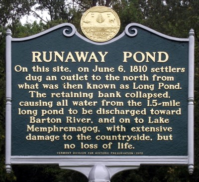 The historic marker by the former Long Pond site in Glover, Vermont.