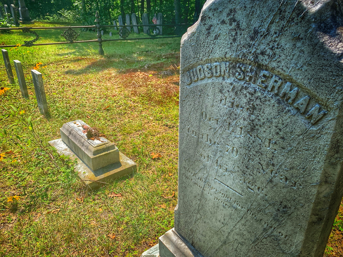 The Destroyed Grave of Bathsheba Sherman in Burrillville, Rhode Island. Photo by Jeff Belanger.