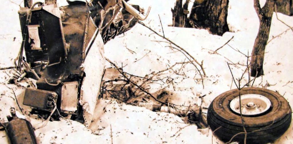 Part of the 1960 plane crash wreckage on Terrible Mountain.