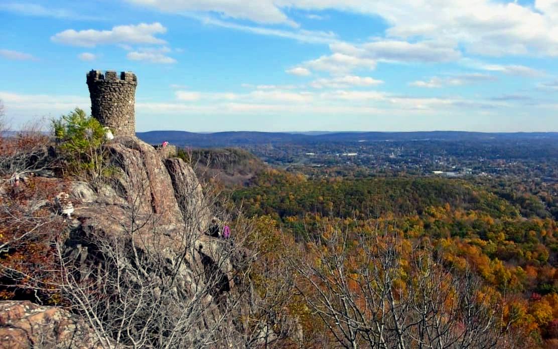 Castle Craig overlooking Hubbard Park in Meriden, Connecticut.