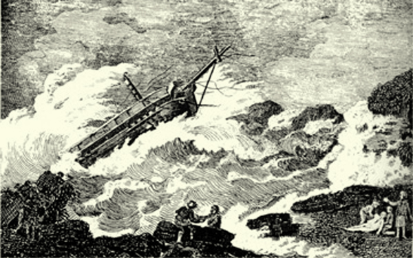 The Wreck of the Nottingham Galley on Boon Island, Maine, December 10, 1710.