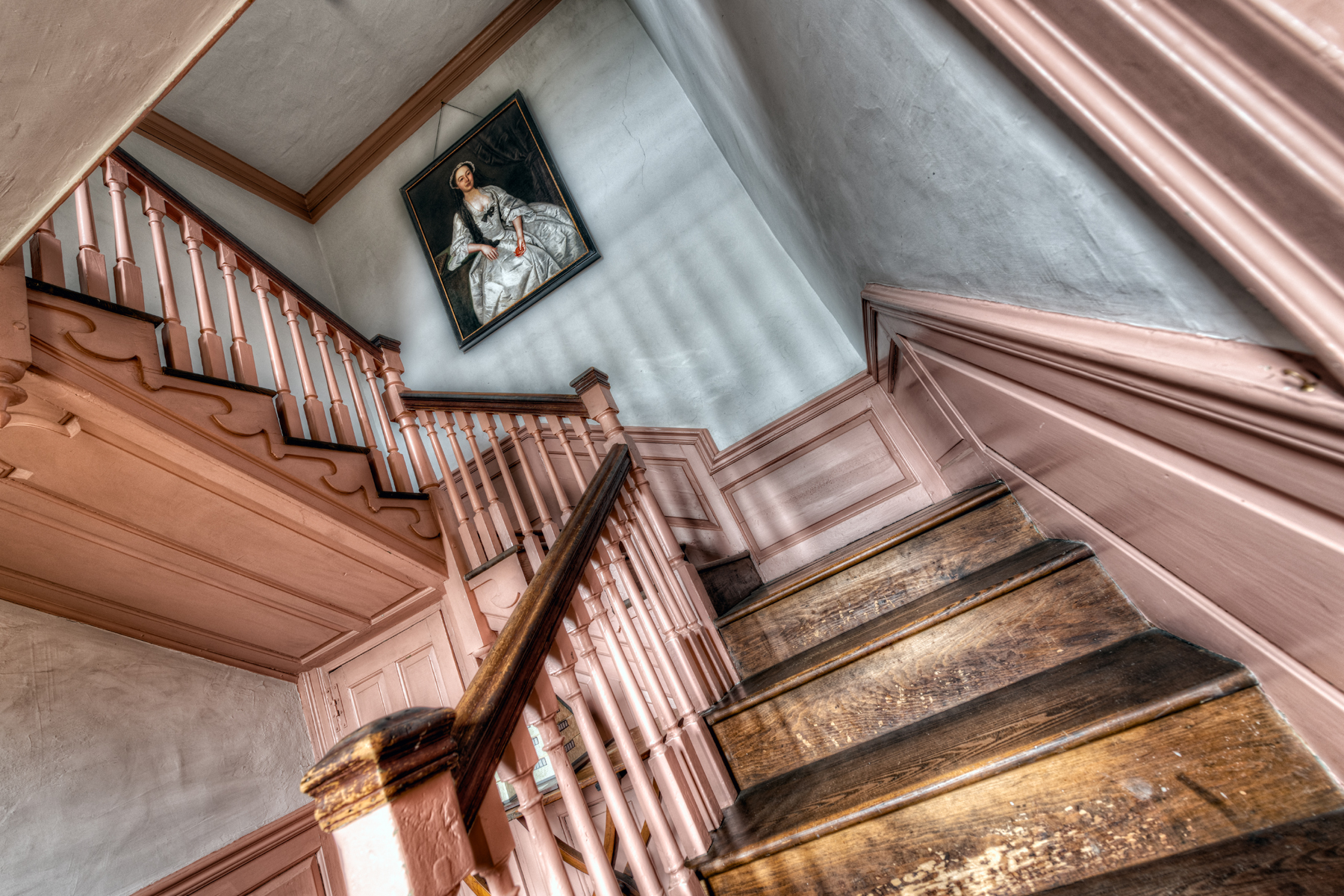 The staircase inside Smith's Castle where Elizabeth Singleton is said to have met her death. Photo by Frank Grace.