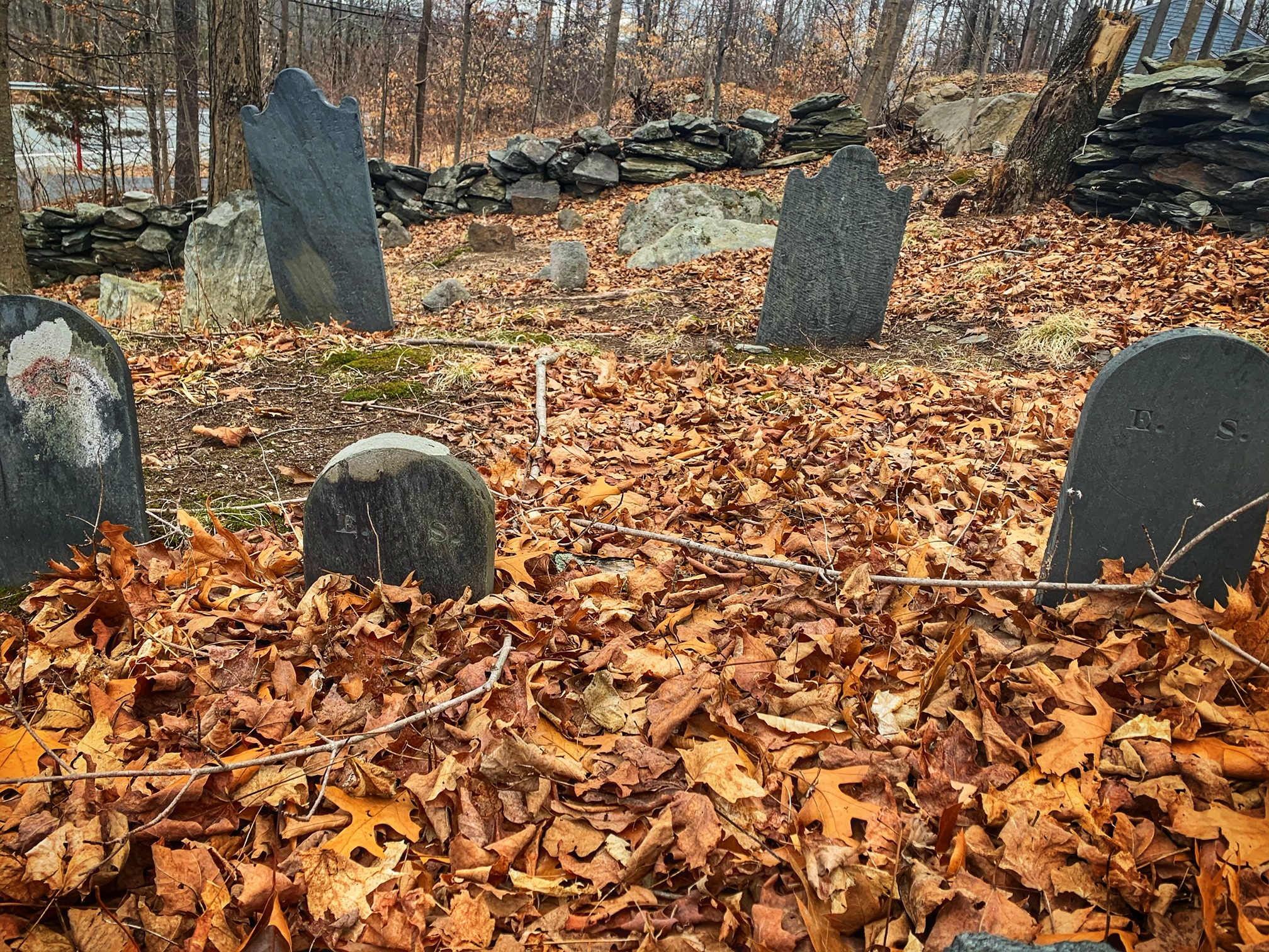 Staples Family graves in Cumberland. Abigail Staples lies buried somewhere nearby. Photo by Jeff Belanger.
