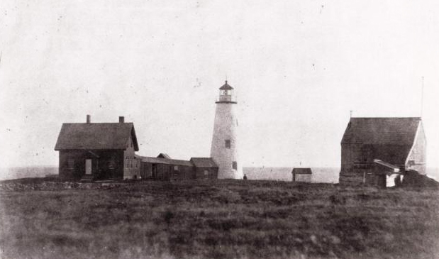 The Haunted Wood Island Lighthouse off the coast of Biddeford, Maine.