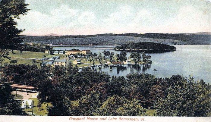 Lake Bomoseen postcard featuring Neshobe Island .