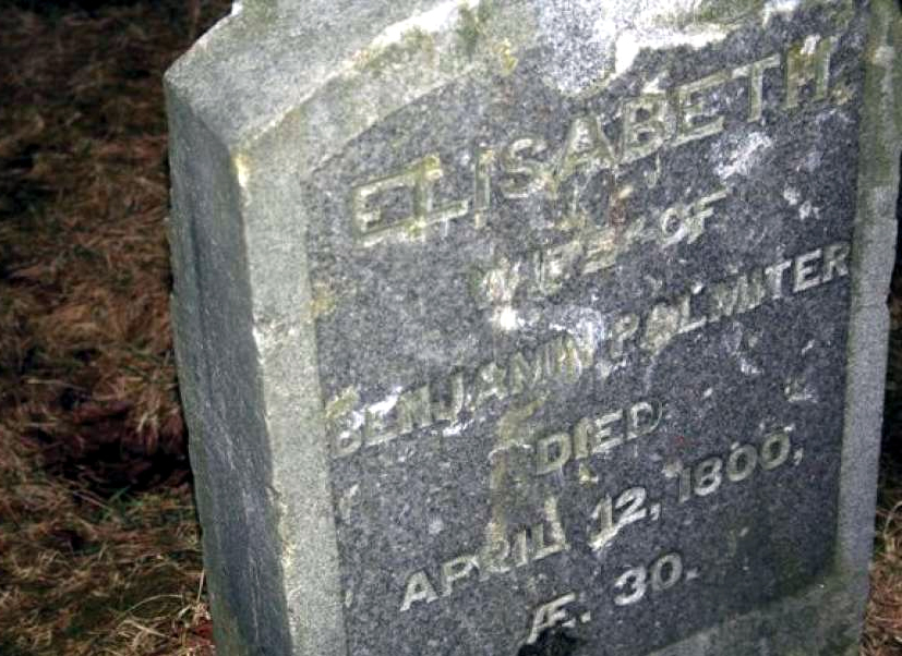 The headstone of Elisabeth Palmiter before it was stolen in 2010.