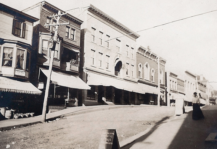 Historic photo of Bank Street in New Milford, Connecticut.