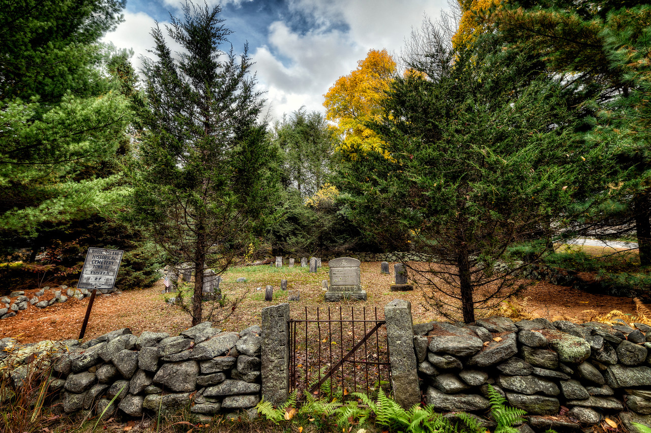 Rhode Island Historic Cemetery #27 on Tucker Hollow Road. Also known as the Hopkins-Tucker Plot, Photo by Frank Grace.