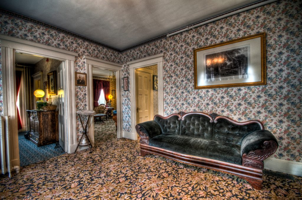 The Lizzie Borden House parlor where Andrew Borden was murdered. Photo by Frank Grace.