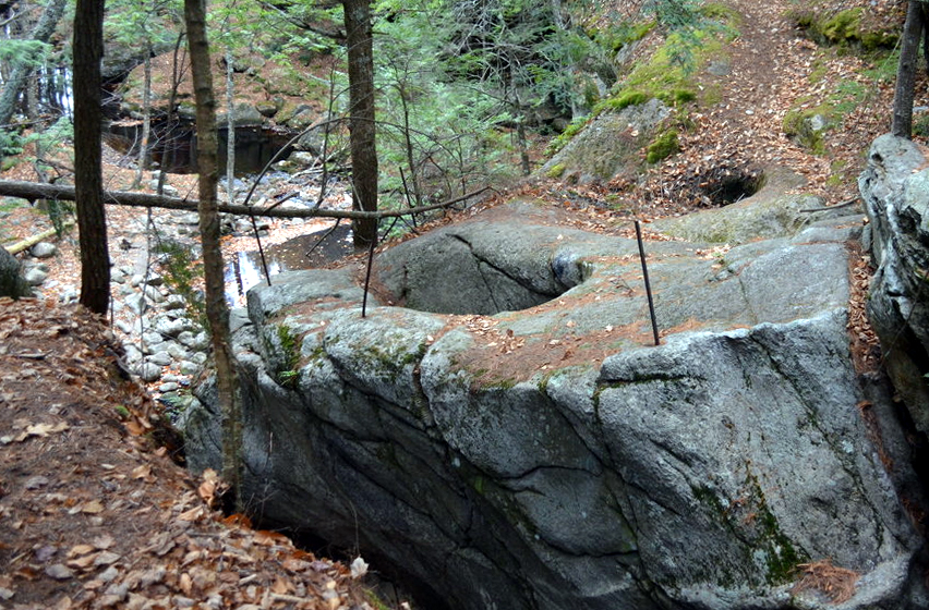 The Devil's Bean pot, and the Devil's Footprint at Purgatory Falls in Purgatory Falls in Lyndeborough, New Hampshire.