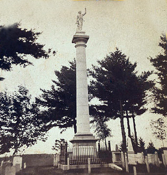 General Ethan Allen's monument in Green Mount Cemetery in Burlington, Vermont.