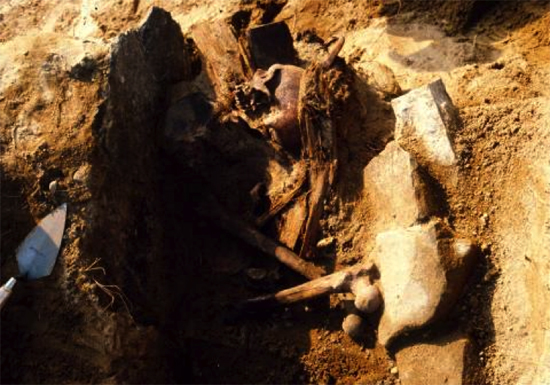 Closeup of the vampire grave of J.B. 55. Photo courtesy of Nicholas Bellantoni.