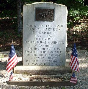 A Knox Trail marker stone in Otis, Massachusetts.