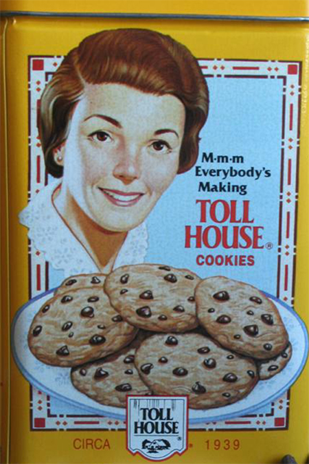 Ruth Wakefield on the box of Nestle Toll House semisweet morsels.