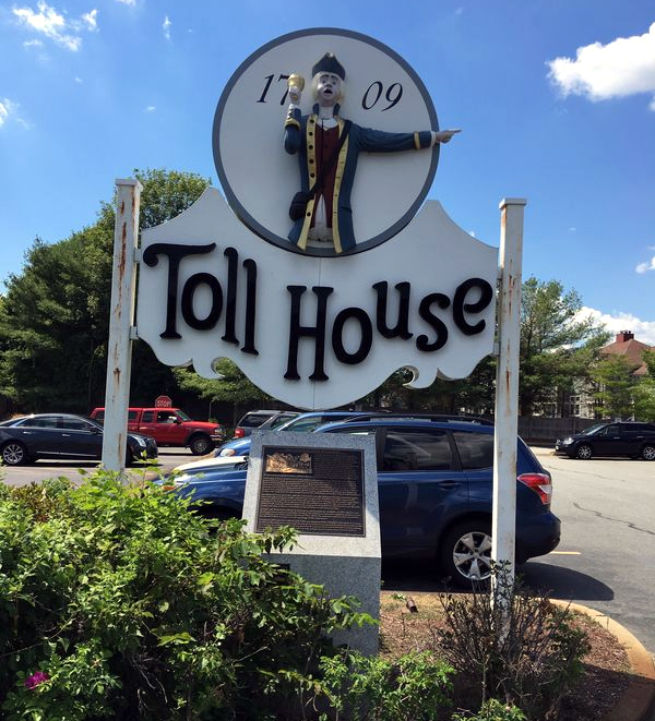 The Toll House Sign and Plaque in Whitman today.
