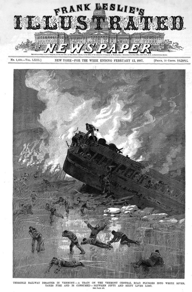 Frank Leslie's Illustrated Newspaper from February 12, 1887 depicting the wreck of the Montreal Express.