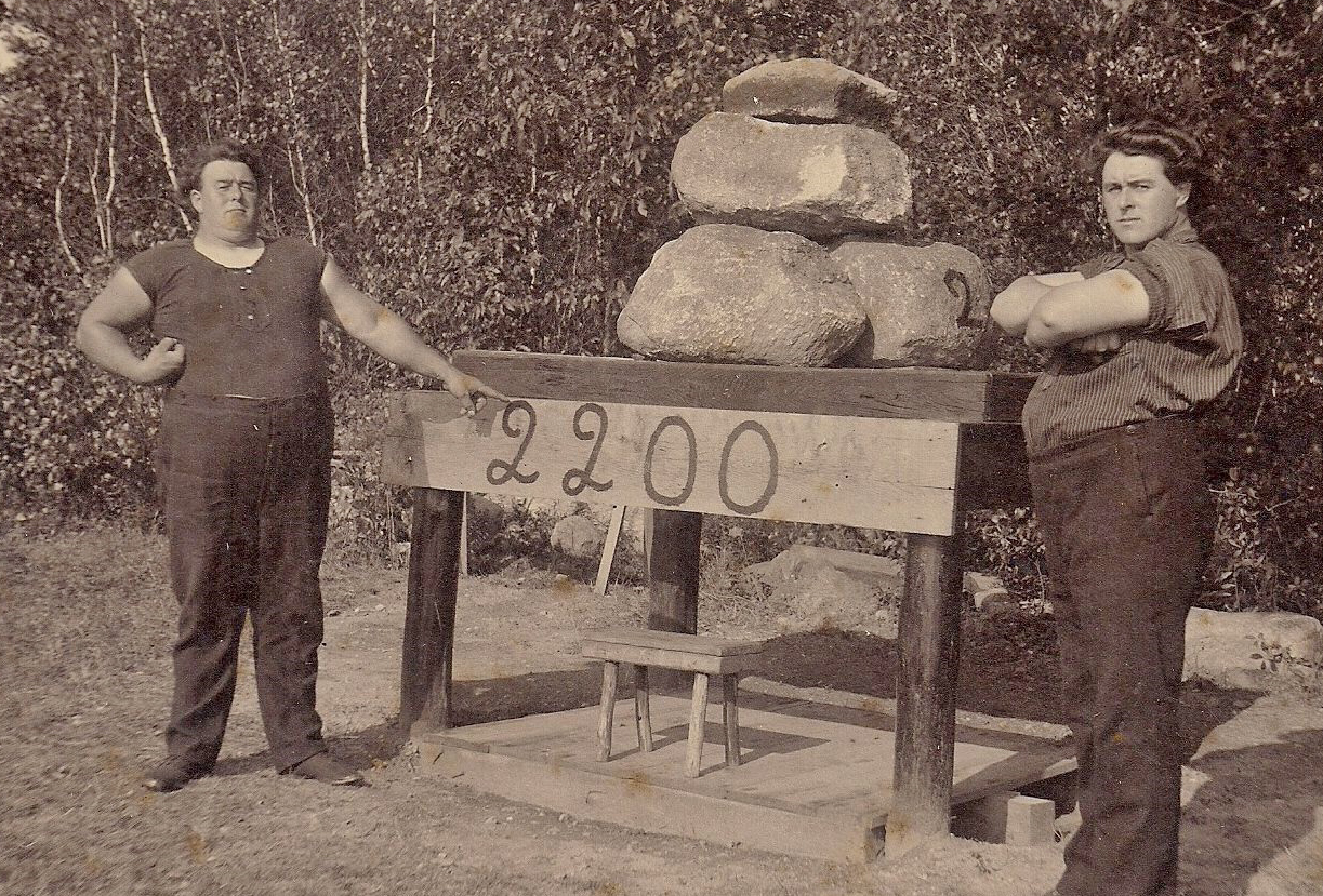 Elmer and Doane Bitgood of Voluntown, Connecticut, in front of their lifting bench. Photo courtesy of Lorna Bitgood Dorr.