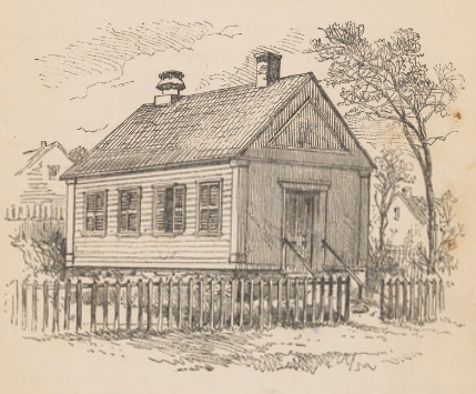 A drawing of Newburyport's haunted schoolhouse from the 1873 pamphlet published by Loring Publishing, Boston.