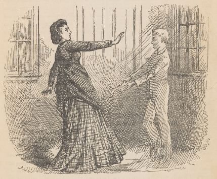A drawing of Miss Perkins and the ghost from the 1873 pamphlet published by Loring Publishing, Boston.
