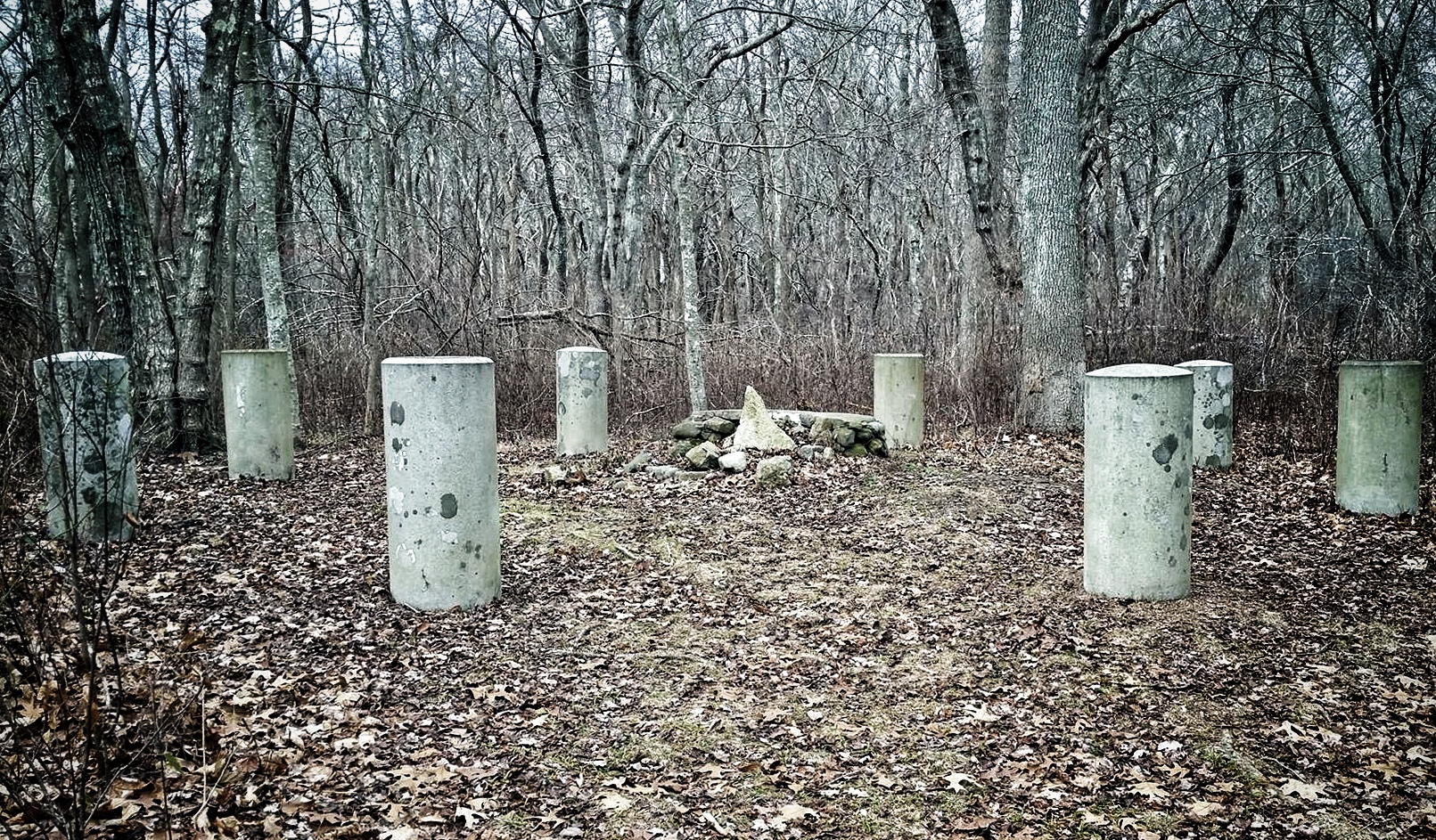 """The """"Witch's Altar"""" and Druid's Chair by Rhode Island Historic Cemetery #3."""