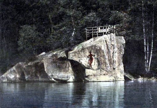 Devil's Rock at Lake Willoughby in Westmore, Vermont.