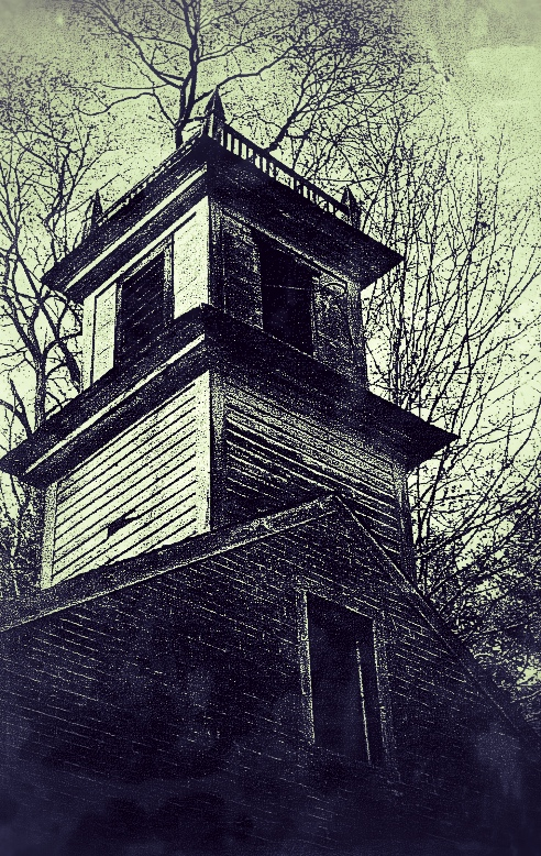 An abandoned building in North Pepperell, Massachusetts. Today all that remains are a few cellar holes.