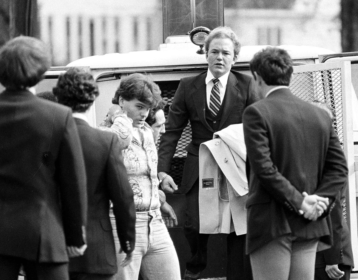 Arne Johnson arriving at Danbury Court to face charges for the 1981 murder of Alan Bono.