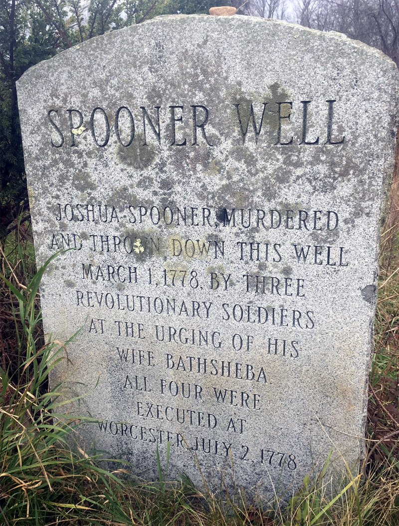 Joshua Spooner's murder site is marked by this stone monument just off of East Main Street in Brookfield, Massachusetts.