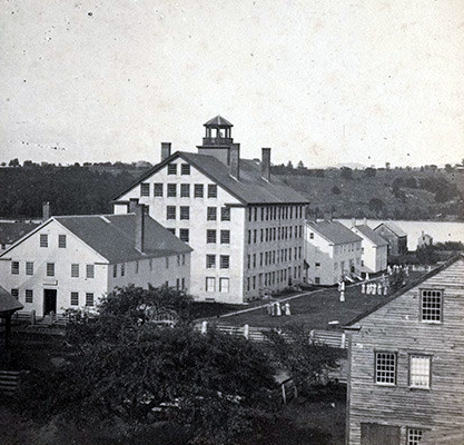 Historic photo of the haunted Shaker Village in Enfield, New Hampshire.