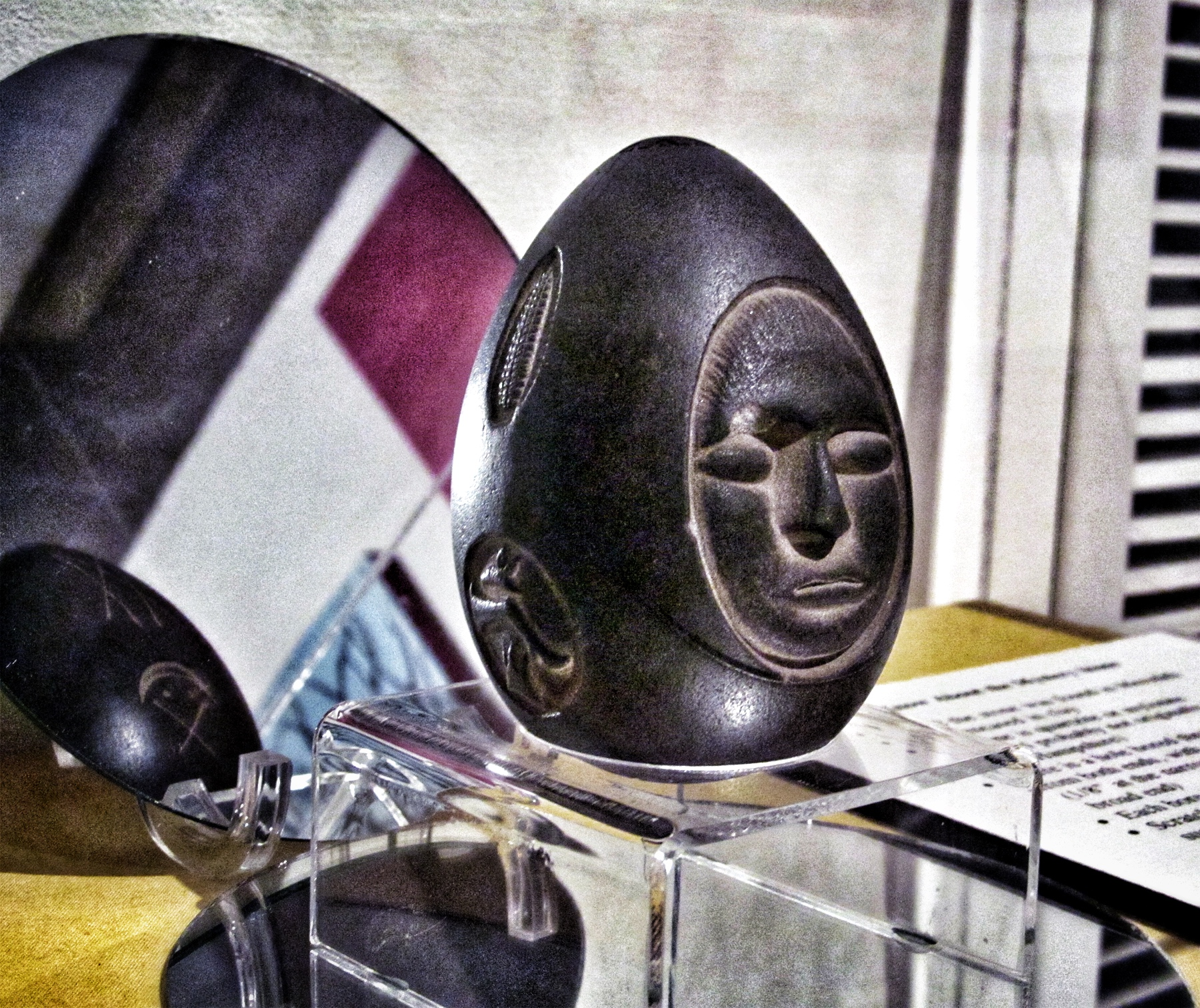 The Lake Winnipesaukee Mystery Stone on display at the New Hampshire Historical Society museum in Concord.
