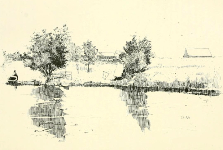 Sketch of the Brick Kiln Shipyard from the 1889 book: History of shipbuilding on North river, Plymouth county, Massachusetts, with genealogies of the shipbuilders, and accounts of the industries upon its tributaries.